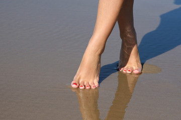 Beautiful female feet on sea sand