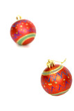 Vibrant Christmas decorations. Isolated on white background poster