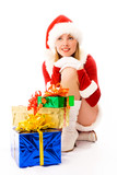 dreamy beautiful girl dressed as Santa with Christmas presents poster