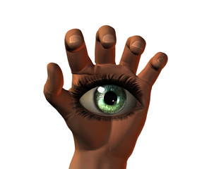 3D girl eye on 3D hand isolated on white background