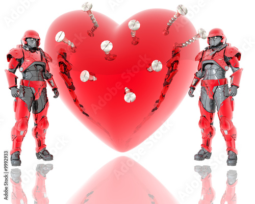 3d soldiers ward a red 3d heart background isolated on white
