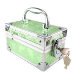 Light green trunk with keys isolated on a white background