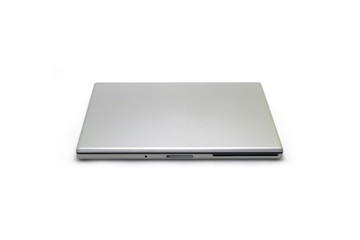 Silver laptop computer isolated on a white studio background