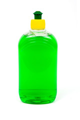 Green liquid soap in trasparent plastic bottles..Path included