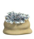 3d bag, filled roubles. Object over white poster