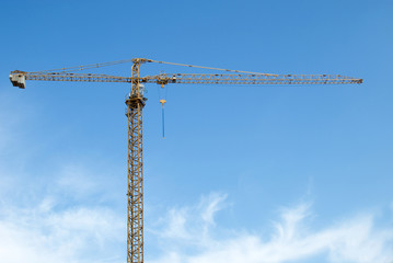 building crane over blue sky background