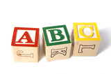 wooden ABC blocks on a white background poster