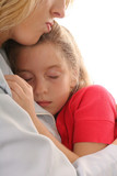 young child asleep on mother poster