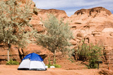 tent camping in Monument Valley poster