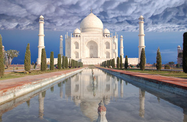Taj Mahal in clouds, India, Agra