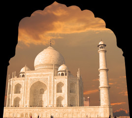 Taj Mahal in the arch, India, Agra