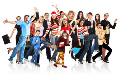 Happy funny people. Isolated over white background.