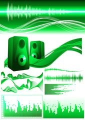 Green sound elements, vector illustration