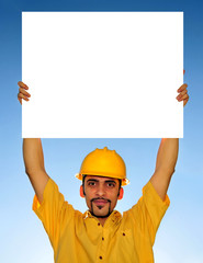 worker holding blank sign