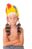 Young boy dressed as an American Indian for Halloween