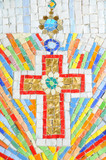 Detail of artistic mosaic drawing with religious motif poster