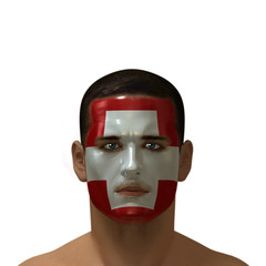 Portrait of a male with a Swiss flag painted on his face.