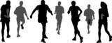 group of marathon runners,   rear wiev poster
