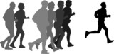 group of marathon runners,profile poster