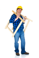 Carpenter at work, white background, reflective surface