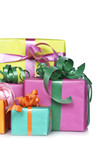Gift boxes with soft shadow on white background. Shallow DOF