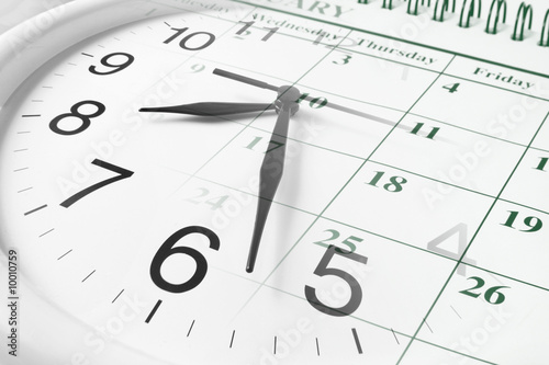 canvas print picture Composite of Clock and Calendar