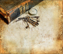 Vintage Bible with pocketwatch and keys grunge