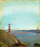 Golden Gate Bridge in San Francisco on Grunge Background