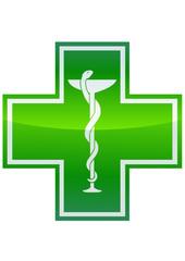 Croix verte de pharmacie et caducée (détouré)