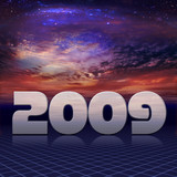 The 2009 New Year in carbon-chrome look in cosmic background poster