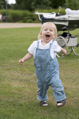 20 month old baby playing and smiling