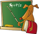 dog teacher funny comic drawing poster
