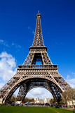Classical view of The Eiffel Tower in Paris on a sunny day-