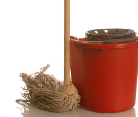 string mop and red bucket isolated on white background