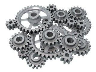 An isolated complex cogwheels mechanism on white background