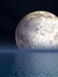 Night Moon Over Sea - Illustration