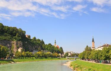 The Salzach River passes through the City of Salzburg, Austria