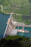 Water barrier dam, lake Perucac, Serbia, Europe poster