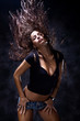 attractive woman dancing, hair flying