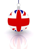 Christmas Ball on white background with flag Great Britain poster
