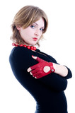 Portrait of a pretty girl in red gloves