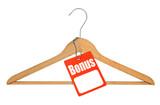coat hanger and bonus tag on white background poster