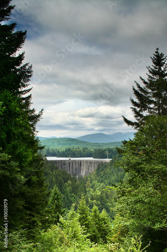 A view to a dam from Mt. Rainier National Park