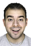 A headshot of a young man that is amazed or thrilled poster