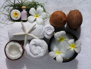spa beauty exotic tropical flowers sea shells  towels salt soap