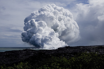 Steam cloud formed by the flow of Lava on Hawai'i