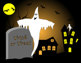Holloween Vector with Trick or Treat on Grave Stone poster