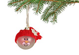 Christmas ornament and evergreen branch with copy space poster