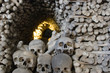Skulls blocking the entrance to a tunnel made of bones