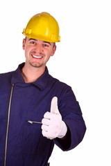 smiling young heavy industry man background